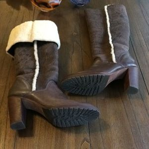 KORS Michael Kors Shearling Lined Leather Boots